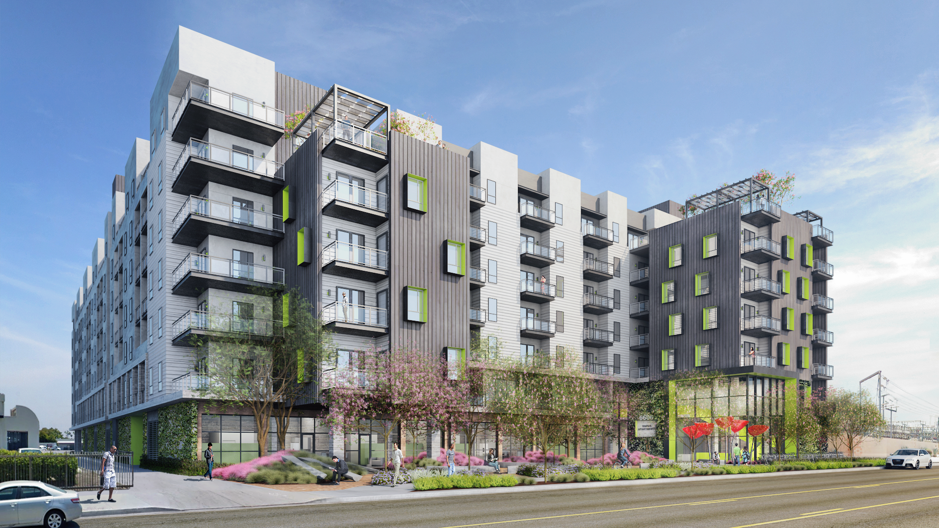 Angled Rendering of VERT apartments in Woodland Hills
